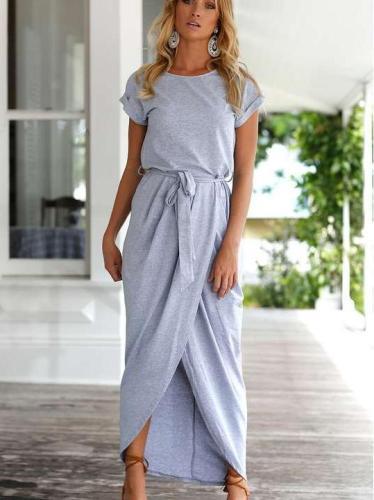 Pure Short sleeve Round neck Irregular Maxi Dresses