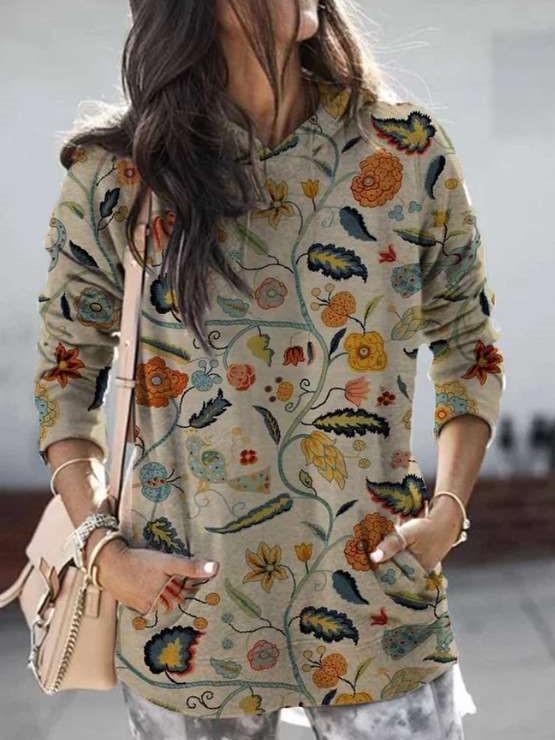 Fashion Print Long sleeve Pocket Hoodies Sweatshirts