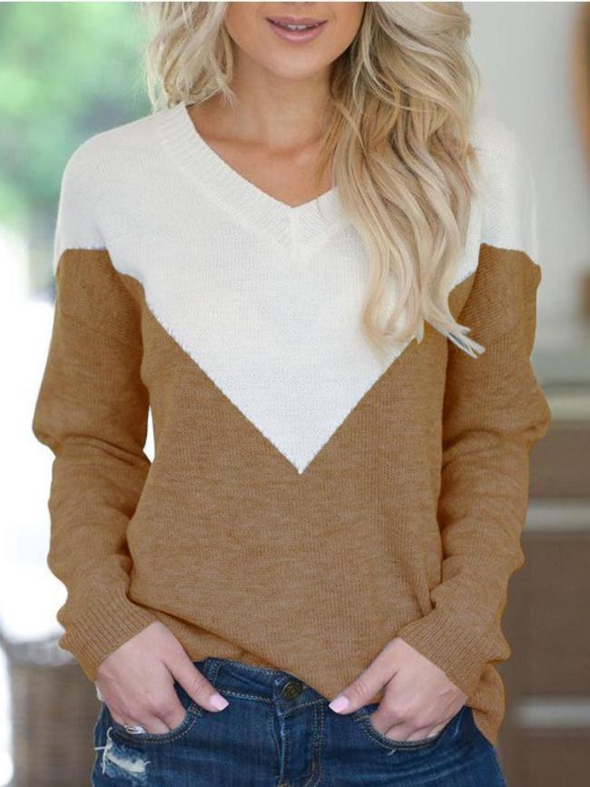 Color V-Neck Long Sleeve T-Shirt