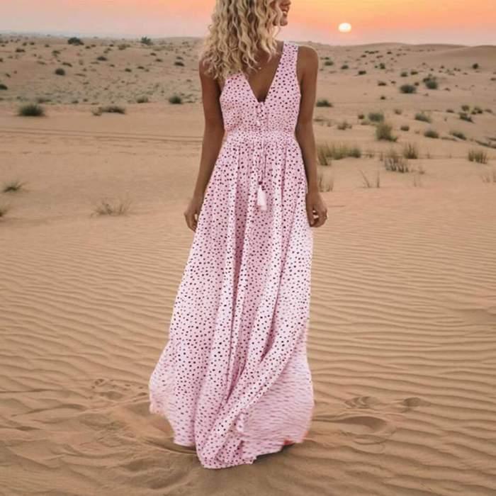 Fashion Casual Print V neck Sleeveless Lacing Maxi Dresses