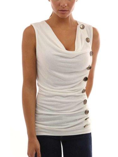 Irregular V neck Drape Sleeveless T-Shirts