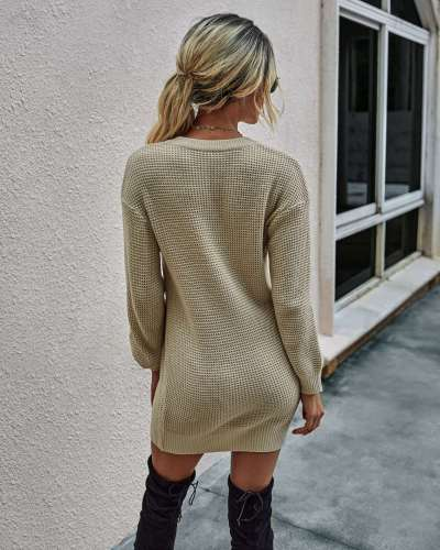 Fashion Casual Pure Knit V neck Long sleeve Shift Dresses