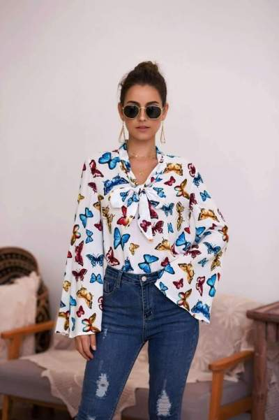Fashion Print Lacing Mandarin sleeve T-Shirts
