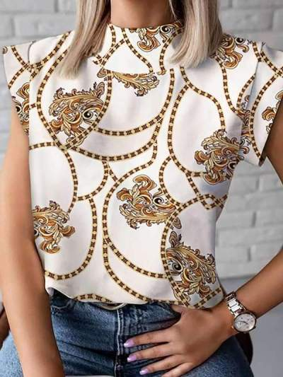 Summer simple stand-up printed blouses