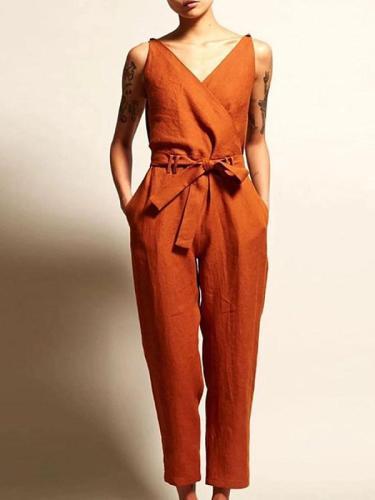 V-neck high waist belt casual jumpsuits