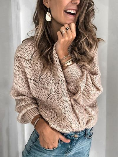 Hollowed-out knit round collar log sleeve sweaters