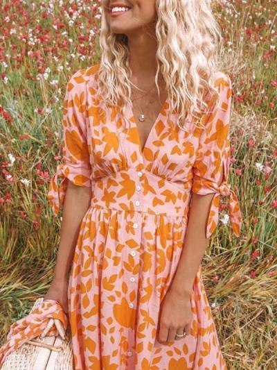 V neck Printed Half Sleeve Fashion Maxi Dresses