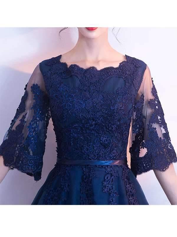 Elegant Slim Skater Long Dress Lace Evening Dresses