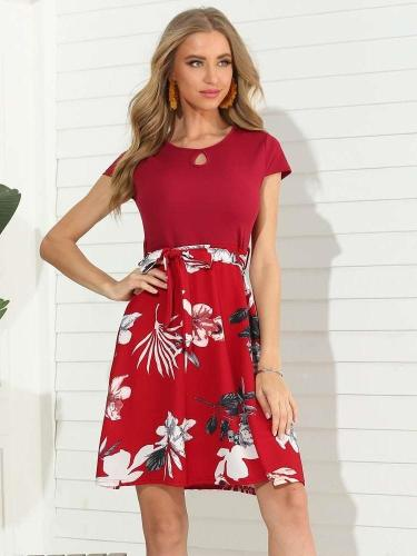 Fashion Print Gored Short sleeve Round neck Skater Dresses