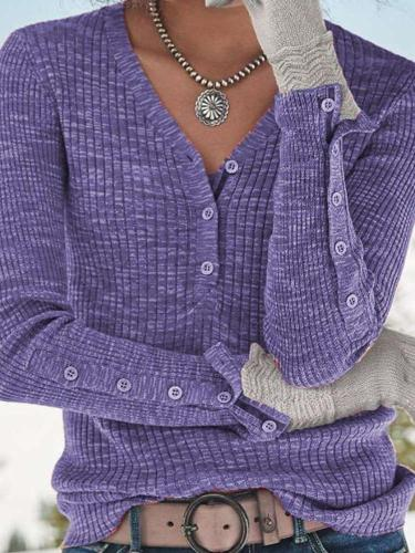 Casual V neck Fastener Knit Sweaters