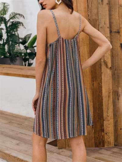 Fashion Stripe Print Vest Sleeveless Shift Dresses
