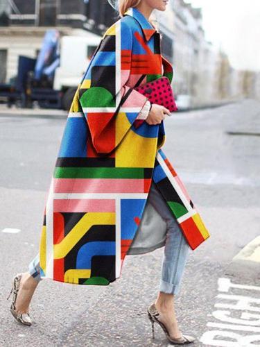 Stylish Printed long women turn down collar coats