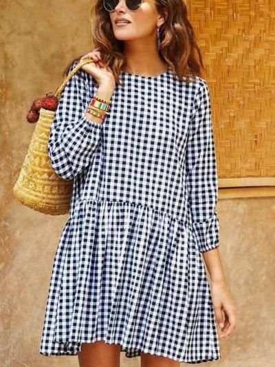 Fashion Gored Plaid Round neck Long sleeve Shift Dresses