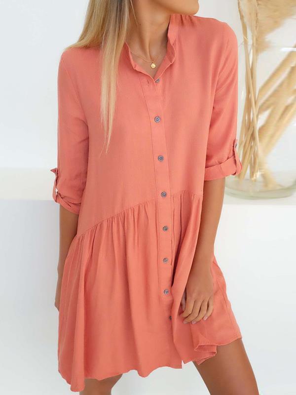 Women Plain Button Turn down collar shift dresses