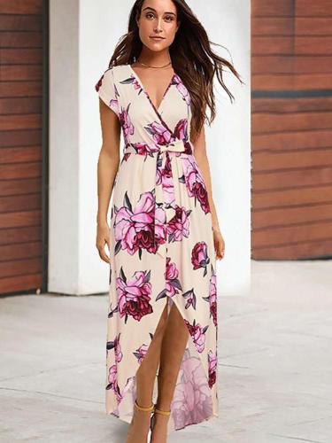Sexy Print Short sleeve Skater Maxi Dresses