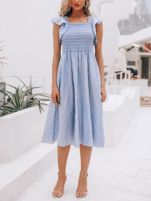 Fashion striped flounce sleeve maxi dresses