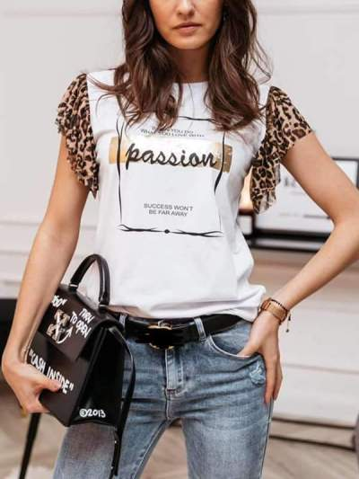 Leopard printed short sleeve T-shirts