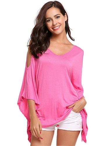 Pure Off shoulder V neck Batwing sleeve T-Shirts