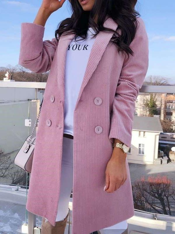 Fashion Pure Tee Lapel Long sleeve Trench Coats
