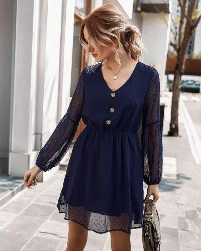Fashion Vneck Fastener Long sleeve Skater Dresses