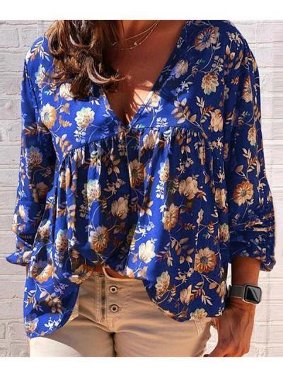 V-neck loose printed  long sleeves T-shirts