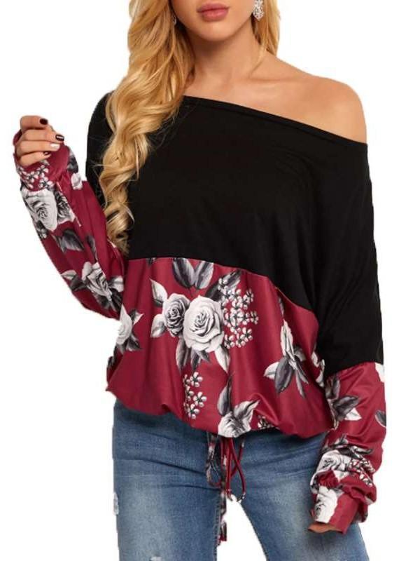 Fashion Print Off shoulder Long sleeve Gored T-Shirts