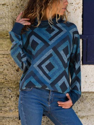Geometric Printed Casual Long Sleeve High Collar Knitting T-Shirts