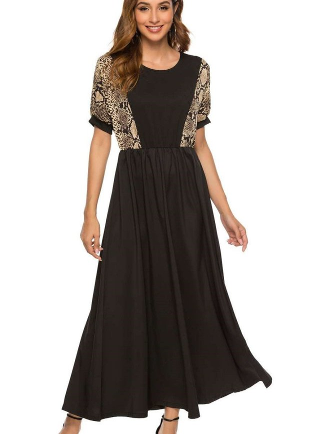 Fashion Round neck Short sleeve Gored Maxi Dresses