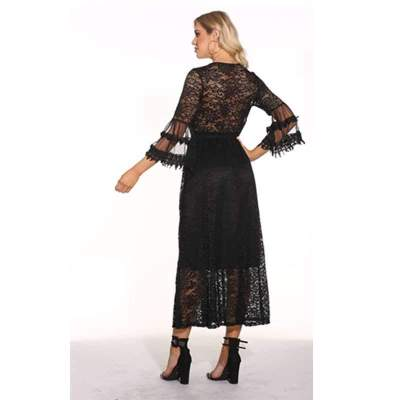 Sexy Pure Lace Vent Three quarter sleeve Skater Dresses