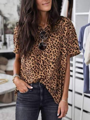 Summer leopard printed short sleeve T-shirts tops