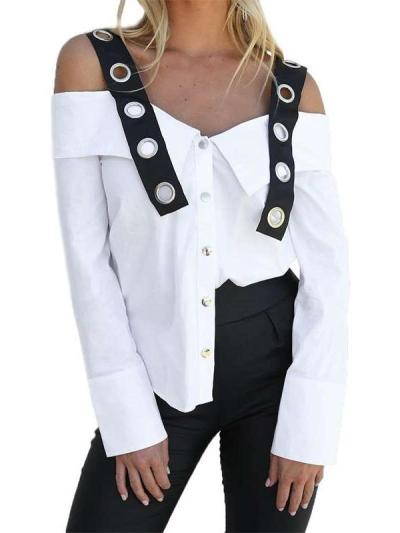 Fashion One shoulder Vest Long sleeve Blouses