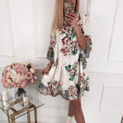 Fashion Casual Print Three quarter sleeve V neck Shift Dresses