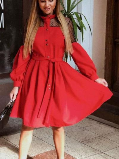 Lace Gored Lacing Stand collar Puff sleeve Skater Dresses