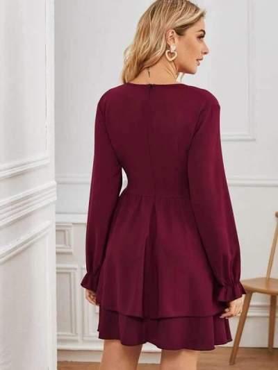 Pure V neck Long sleeve Lacing Skater Dresses