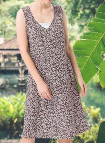Casual Print V neck Sleeveless Shift Dresses