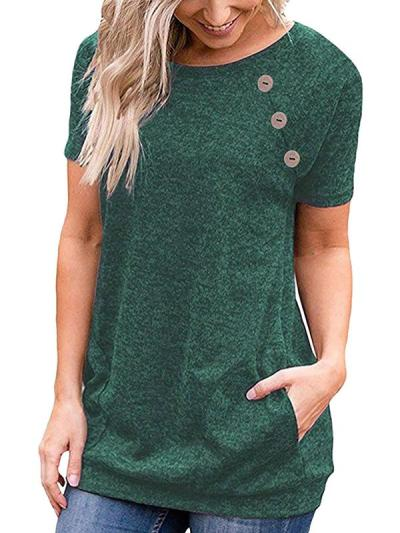 Round Neck Plain Button decorate Short Sleeve T-shirt