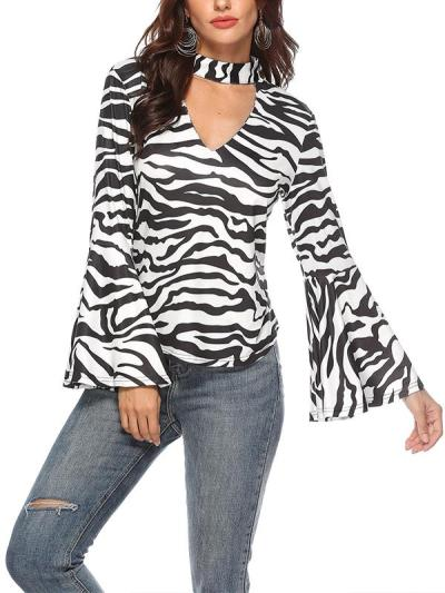 Sexy high neck flared sleeve zebra-stripe printed top blouses