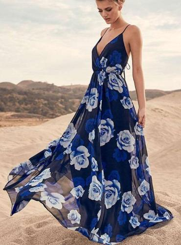 Fashion Print V neck Beach Maxi Dresses