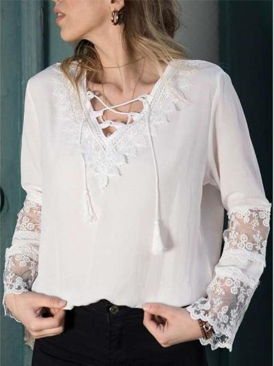Pure V neck Gored Lace Lacing Long sleeve Blouses