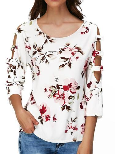 Fashion casual floral print long sleeve T-shirts