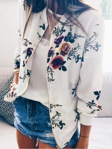 Fashion Print Round neck Zipper Long sleeve Jackets