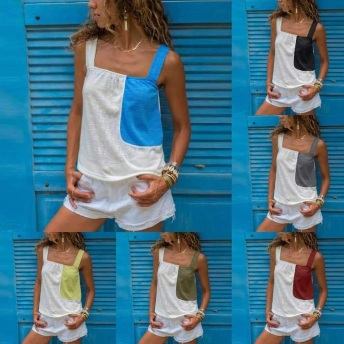 Matching color sleeveless halter Strapless top Vests