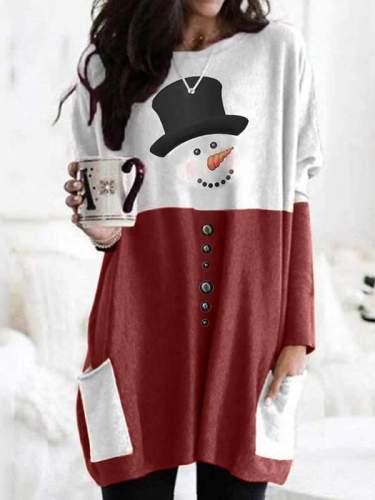 Christmas Snowman printed long-sleeved T-shirts
