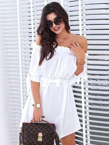 Casual Off shoulder Lacing Shift Dresses