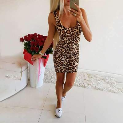 Sexy Leopard print Vest Sleeveless Bodycon Dresses