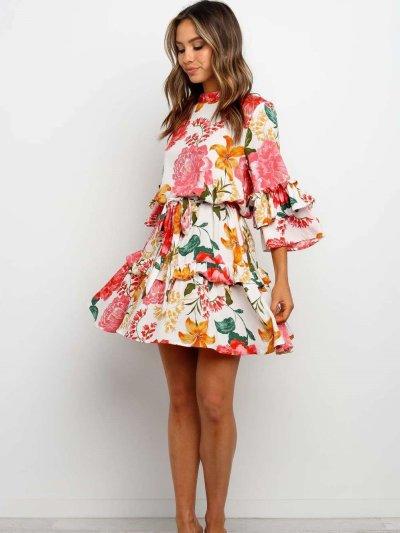 Fashion Print Roun neck Long sleeve Skater Dresses