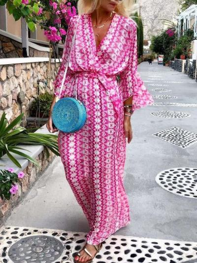 Fashion Casual Print V neck Long sleeve Lacing Maxi Dresses