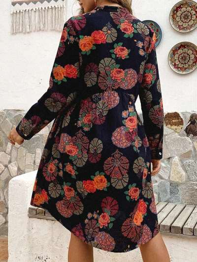 Fashion Casual Loose Print Stand collar Long sleeve Fastener Skirt Shift Dresses