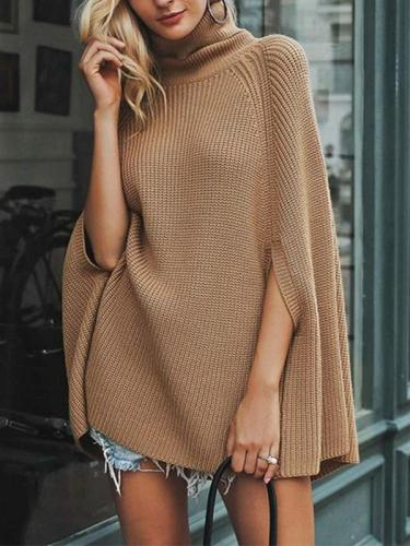 Woman Plain High Collar Cloak Sweater
