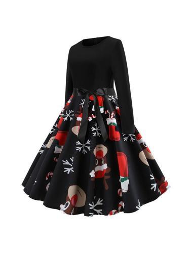 Christmas Long Sleeve Round Neck Bowknot Skater Dresses